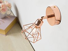 Set of 2 Wall Lamps Copper Metal Cage Shade