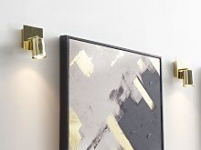 Set of 2 Wall Lamps Gold Metal Sconce Adjustable