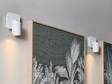 Set of 2 Wall Lamps White Metal Sconce Adjustable
