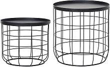 Set Of 2 Webbed Frame Side Tables w/ Saucer Top