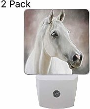 Set of 2 White Horse Night Light, Plug-in Sensor