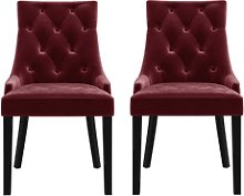 Set of 2 Wine Red Velvet Dining Chairs - Kaylee