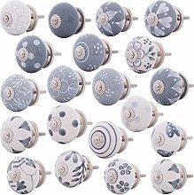 Set of 20 Grey / White Furniture Knobs
