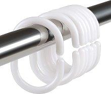 Set of 20 Plastic Shower Rings, Accessory Curtain Rings, 20 Single Hooks White 45 x 25 mm