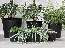 Set of 3 Black Round Plant Pot Inserts Black