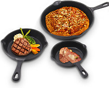 Set of 3 Cast Iron Frying Pans Enamel Skilled Pans
