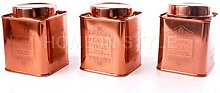 Set of 3 Copper Tea Sugar Coffee Storage Jar