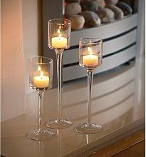 Set of 3 Elegant Tea Light Glass Candle Holders