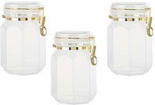 Set of 3 Gozo Large Octagonal Canister Storage Jars