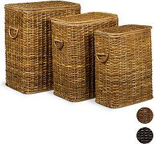 Set of 3 Laundry Basket Rattan Stackable Hampers,