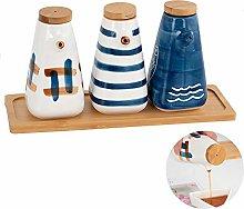 Set of 3 Oil/Vinegar Bottles,with 1*Wooden Tray,