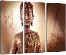 Set of 3 Part Brown Buddha Canvas Wall Art
