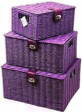 Set of 3 Purple Resin Woven Wicker Hamper Basket