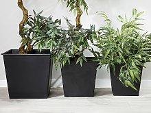 Set of 3 Square Plant Pot Protective Inserts Black