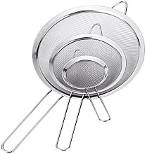 Set of 3 Stainless Steel Kitchen Fine Strainers