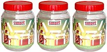 Set of 3 Sunpet Red Top 3000ml 3Lt Plastic Food