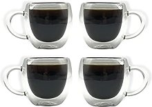 Set of 4 80ML Double Walled Espresso Glass Cups,