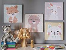 Set of 4 Canvas Prints Multicolour 30 x 30 cm Wall