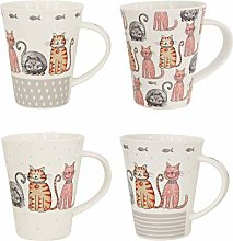 Set of 4 Cat Design Print Coffee Mugs Tea Cups