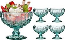 Set of 4 Dessert Bowls Green Glass 300ml Embossed