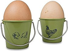 Set of 4 Egg Cup Buckets Cream Metal New Boxed by