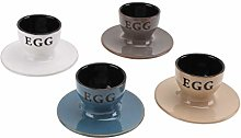 Set of 4 Egg Cups in White/Navy/Brown and Beige |