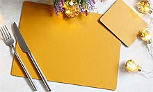 Set of 4 Elementary Mustard Leatherboard Placemats