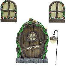 Set of 4 Fairy Door and Window for Tree, Mini