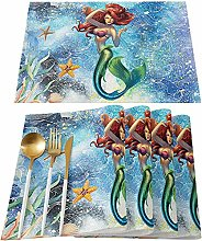 Set of 4 Girl Placemats, Durable Table Mat Protect