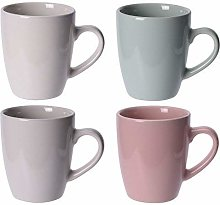 Set of 4 Gloss Stoneware Mugs in Pastel Colours