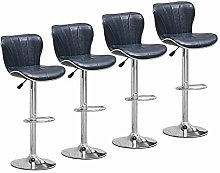 Set of 4 Glossy Blue Bar Stools for Kitchens, PU