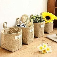Set of 4 Hanging Storage Bags, Cotton and Linen,