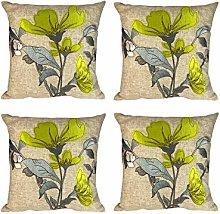 Set of 4 Lime Green Applique Floral Silk Flower