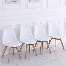 Set of 4 Modern Dining Chairs, White
