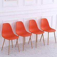 Set of 4 Modern Plastic Dining Chairs, Orange