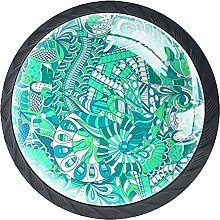 Set of 4 Mushroom Drawer Knobs Abstract Green