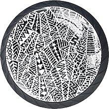 Set of 4 Mushroom Drawer Knobs Abstract Pattern