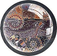 Set of 4 Mushroom Drawer Knobs Paisley Koala Bird