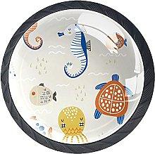 Set of 4 Mushroom Drawer Knobs Turtle Sea Horse