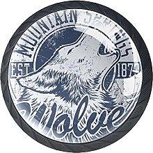 Set of 4 Mushroom Drawer Knobs Wolf Logo Furniture