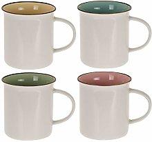 Set of 4 New Bone China White Coffee/Tea Mugs
