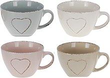 Set of 4 Oversized Jumbo Large Mugs Pastel Colours