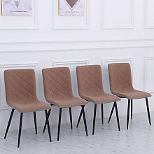 Set of 4 Padded Linen Accent Dining Chairs, Brown