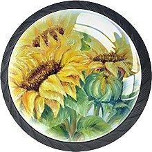 Set of 4 Painting Vintage Sunflowers Pattern