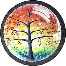 Set of 4 Paiting Vintage Tree of Life Pattern
