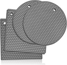 Set of 4 Silicone Trivets - Light Gray - Gris Clair