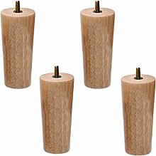 Set of 4 Solid Wood Furniture Legs,Rubber Wood