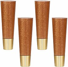 Set of 4 Solid Wood Furniture Legs,Tapered Rubber