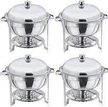 Set of 4 Stainless Steel Round Food Warmer Chafing