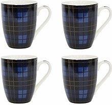Set of 4 Traditional Tartan Coffee Tea Mugs Home